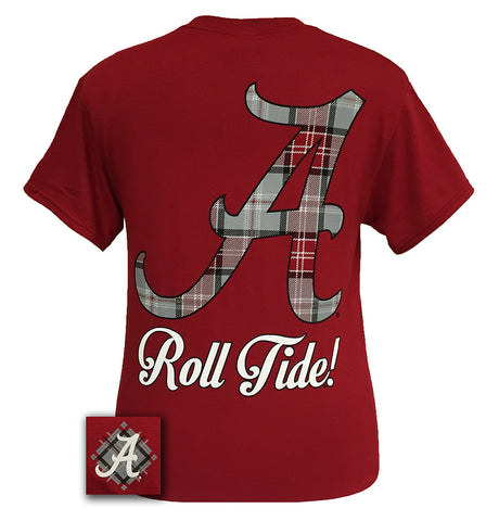 Alabama Crimson Tide Big Plaid Logo State Girlie Bright T Shirt - SimplyCuteTees