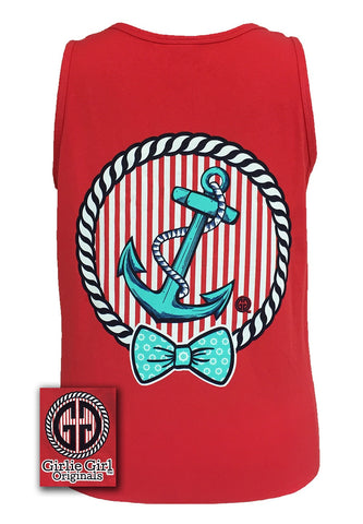 Girlie Girl Originals Collection Anchor Bow Logo Bright Comfort Colors Red Tank Top Shirt - SimplyCuteTees