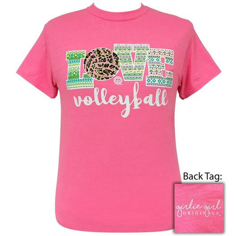 2c3b6785 Girlie Girl Originals Preppy Love Volleyball Leopard Aztec T-Shirt