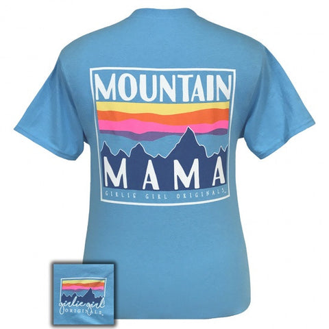 Girlie Girl Preppy Mountain Mama T-Shirt - SimplyCuteTees