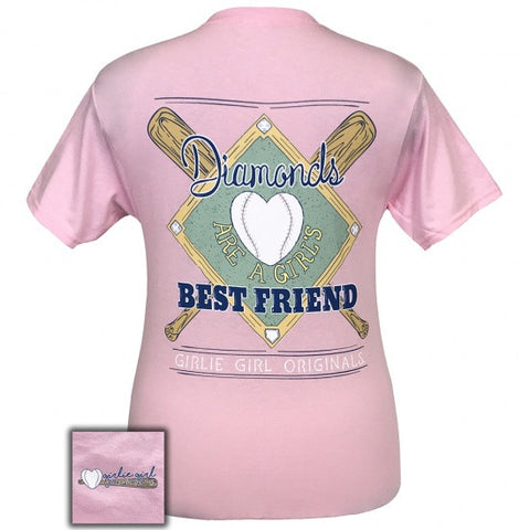 Girlie Girl Preppy Diamonds are a girls best friend Baseball T-Shirt