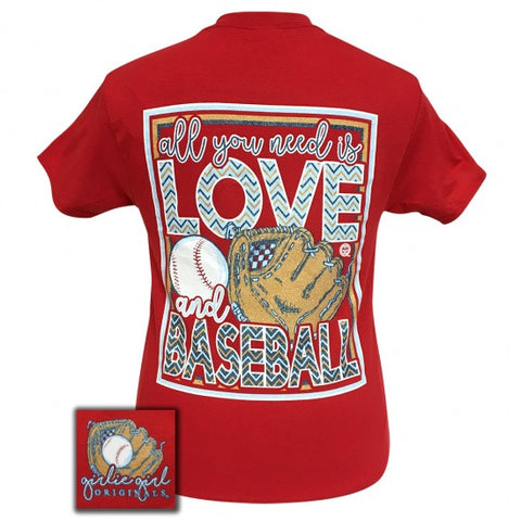 Girlie Girl Originals Preppy Love And Baseball T-Shirt - SimplyCuteTees