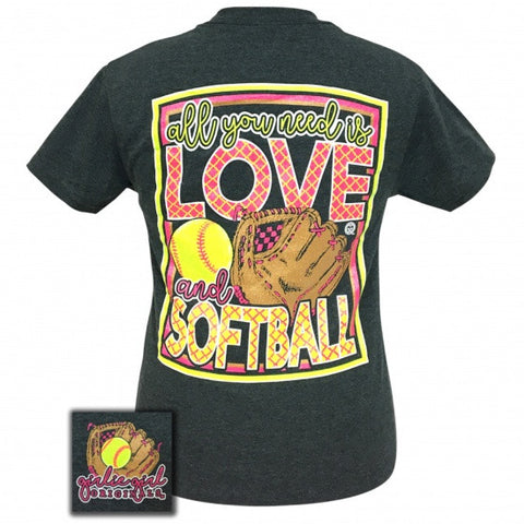 Girlie Girl Originals Preppy Love And Softball T-Shirt - SimplyCuteTees