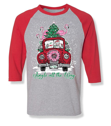 Sassy Frass Jingle All the Way Santa Clause Mobile Car Christmas Long Sleeve Raglan Bright Girlie T Shirt