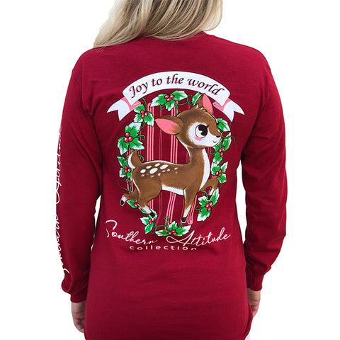 Southern Attitude Preppy Holiday Joy To The World Deer Long Sleeve T-Shirt