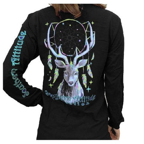 Southern Attitude Preppy Feather Deer Dream Black Long Sleeve T-Shirt