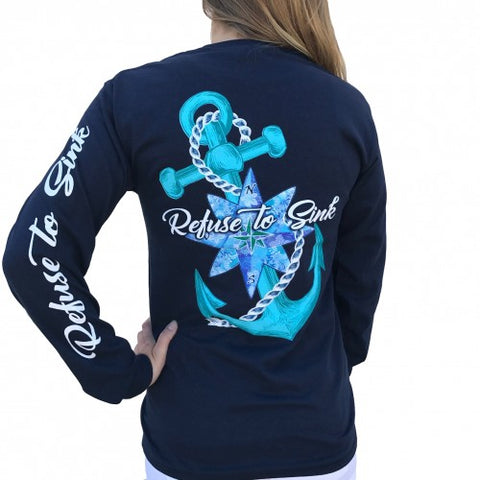 Southern Attitude Preppy Refuse To Sink Anchor Long Sleeve T-Shirt