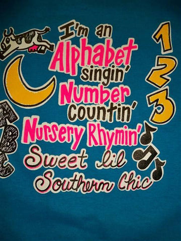 Southern Chics Funny Lil Girl Alphabet ABC Toddler Youth Bright T Shirt