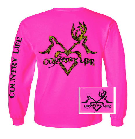 Country Life Outfitters Pink Deer Kiss Heart Love Hunt Vintage Long Sleeve Bright T Shirt - SimplyCuteTees