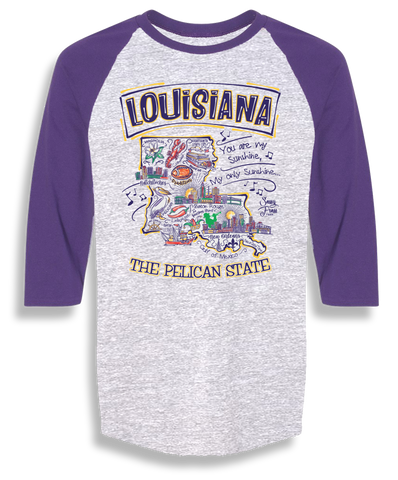 Sassy Frass Louisiana Pelican State LA Raglan Girlie Bright T Shirt
