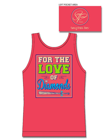 Sassy Frass For the Love of Diamonds Softball Sports Comfort Colors Bright Tank Top T Shirt