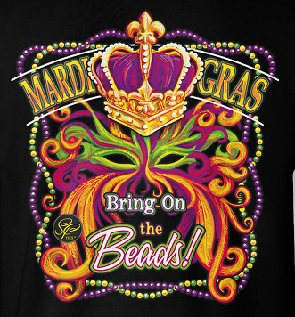 Sassy Frass Mardi Gras Bring on the Beads Mask Crown Front Print Girlie Bright T Shirt
