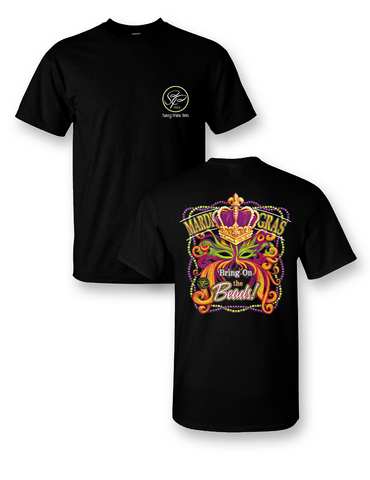 Sassy Frass Mardi Gras Bring on the Beads Mask Crown Girlie Bright T Shirt - SimplyCuteTees