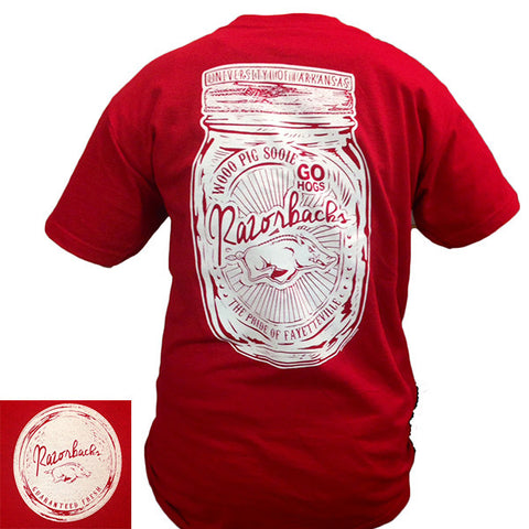 New Arkansas Razorbacks Hogs Mason Jar Perfection Girlie Bright T Shirt