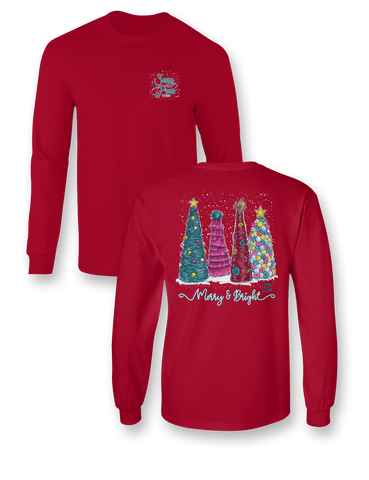 Sassy Frass Merry & Bright Christmas Trees Long Sleeve Bright Girlie T Shirt