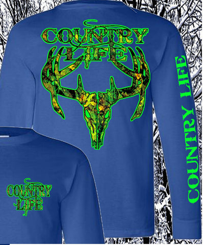 Country Life Outfitters Royal & Green Camo Realtree Deer Skull Head Hunt Vintage Unisex Long Sleeve Bright T Shirt - SimplyCuteTees