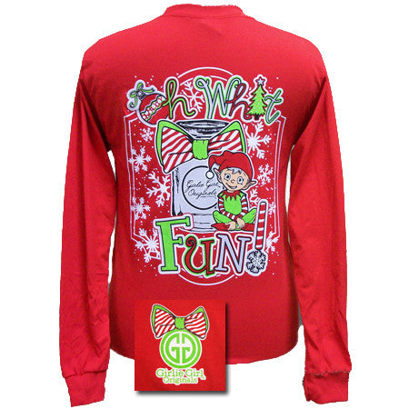 Girlie Girl Originals Christmas Oh What Fun Elf Mason Jar Bow Long Sleeves T Shirt - SimplyCuteTees