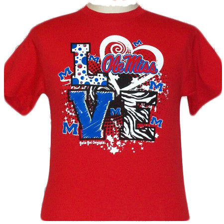 Mississippi Ole Miss Rebels Love Om Girlie Bright T Shirt