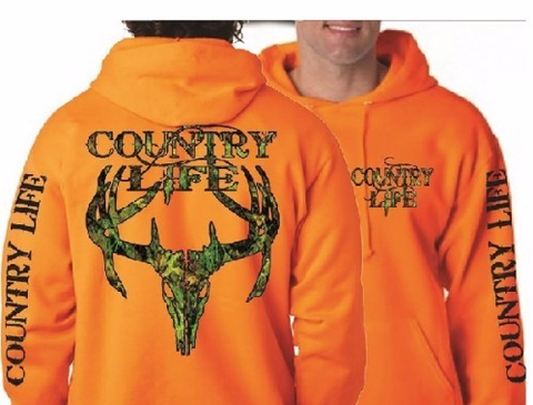 Country Life Outfitters Orange Camo Realtree Deer Skull Head Hunt Vintage Pullover Shirt Unisex Hoodie - SimplyCuteTees