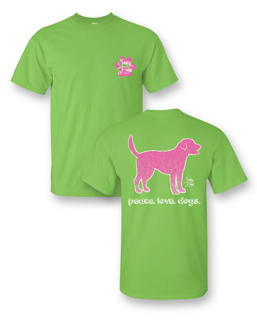 Sassy Frass Peace Love Dogs Bright Girlie T Shirt