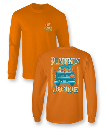 Sassy Frass Pumpkin Junkie Truck Dog Fall Comfort Colors Bright Girlie Long Sleeves T Shirt