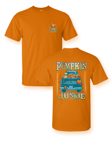 Sassy Frass Pumpkin Junkie Truck Dog Fall Comfort Colors Bright Girlie T Shirt