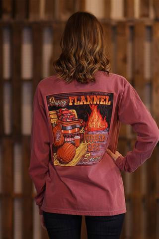 Sassy Frass Comfort Colors Happy Pumpkin Spice Flannel Fall Halloween Season Long Sleeve Bright Girlie T Shirt