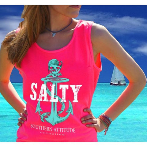 Southern Attitude Preppy Anchor Skull Pink Tank Top