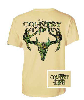 Country Life Outfitters Sand Camo Realtree Deer Skull Head Hunt Vintage Unisex Bright T Shirt - SimplyCuteTees