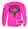 Country Life Outfitters Pink Camo Realtree Deer Skull Head Hunt Vintage Long Sleeve Bright T Shirt - SimplyCuteTees