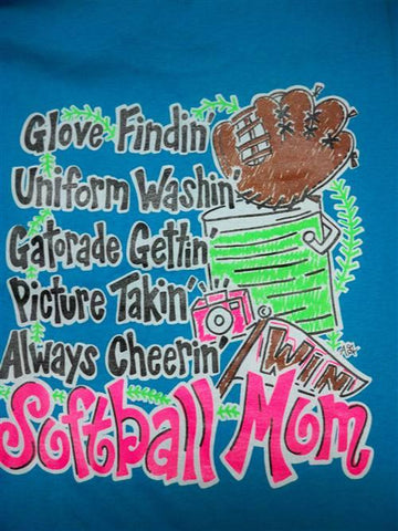 Southern Chics Funny Softball Mom 1 Sweet Girlie Bright T Shirt