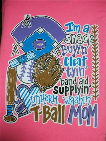Southern Chics Funny T Ball Mom Baseball Band Aid Girlie Bright T Shirt