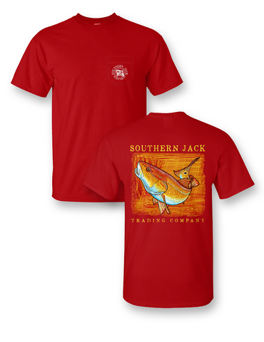 Southern Jack Red Fish Frass Unisex Comfort Colors Pocket Bright T Shirt