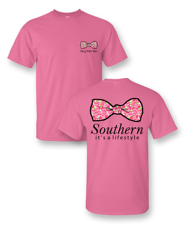 Sassy Frass South Lifestyle Big Bow Flowers Bright Girlie T Shirt
