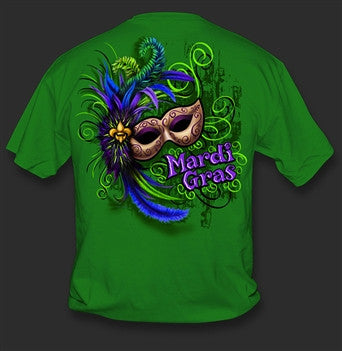 0024341bc0a608 Sweet Thing Funny Mardi Gras Mask Beads Green Girlie Bright T-Shirt |  SimplyCuteTees