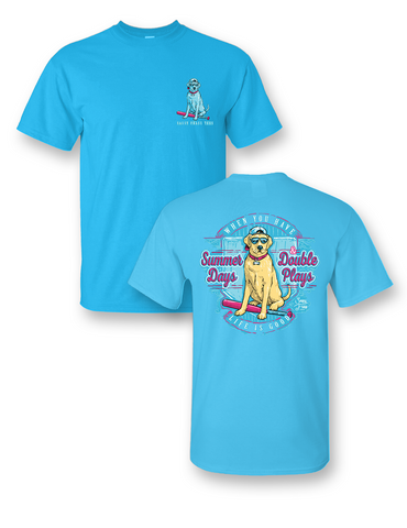 0068eeb4c92 Sassy Frass Summer Days Double Plays Baseball Softball Dog Bright Girlie T  Shirt
