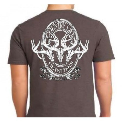 Country Life Outfitters Vintage Deer Skulls Charcoal Unisex T-Shirt - SimplyCuteTees