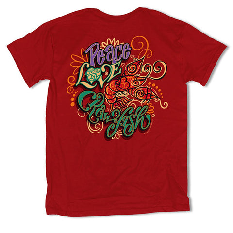 Southern Vine Originals Peace Love Crawfish Unisex T-Shirt