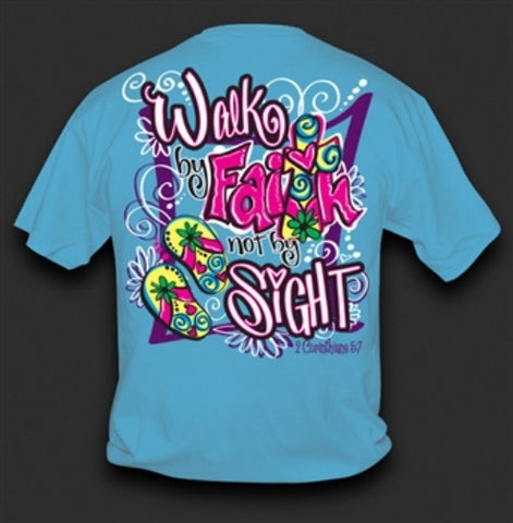 Sweet Thing Funny Walk by Faith Cross Blue Girlie Bright T Shirt - SimplyCuteTees