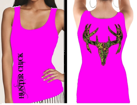 Country Life Outfitters Hunter Chick Pink Camo Realtree Deer Skull Head Hunt Vintage Bright Fitted Tank Top Shirt - SimplyCuteTees
