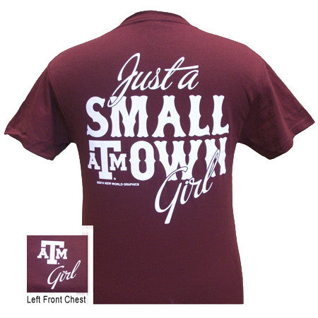 Texas A&M  Just A Small Town Girl Girlie Bright T Shirt - SimplyCuteTees