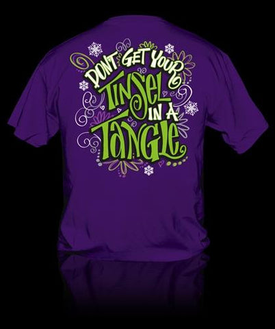 Sweet Thing Funny Tinsel in a Tangle Christmas Xmas Girlie Bright T-Shirt
