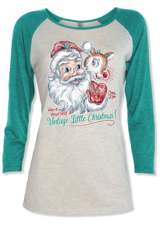 Sassy Frass Have Yourself a Vintage Little Christmas Santa Rudolph Long Sleeve Raglan Bright Girlie T Shirt