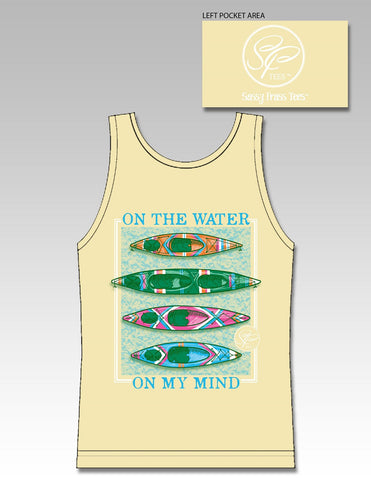 Sassy Frass Comfort Colors Water on my Mind Canoe Kayak Bright Girlie Tank Top T Shirt