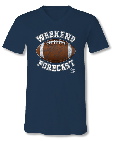 Sassy Frass Weekend Forecast Football Navy V-Neck Canvas Girlie Bright T Shirt