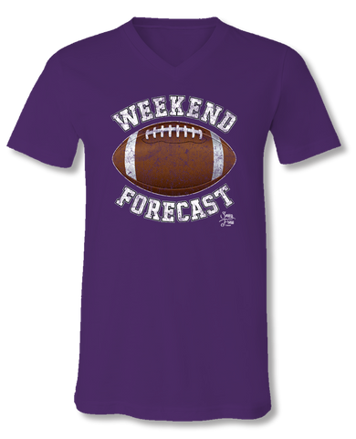 Sassy Frass Weekend Forecast Football Purple V-Neck Canvas Girlie Bright T Shirt