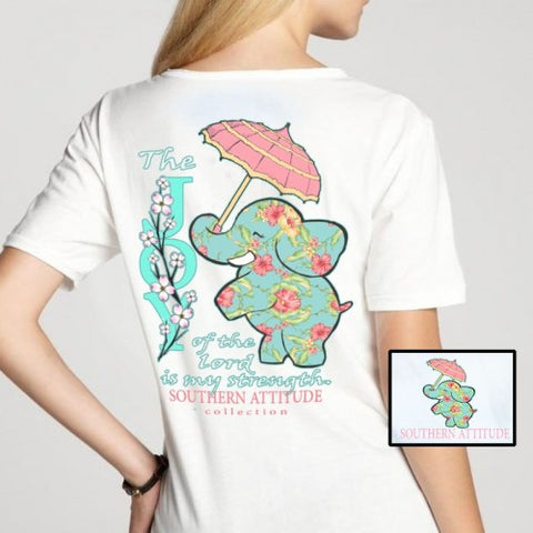 Southern Attitude Preppy Joy Elephant White T-Shirt
