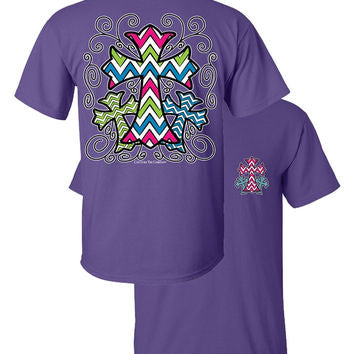 SALE Southern Couture 3 Cross Chevron Christian Purple Girlie Bright T Shirt