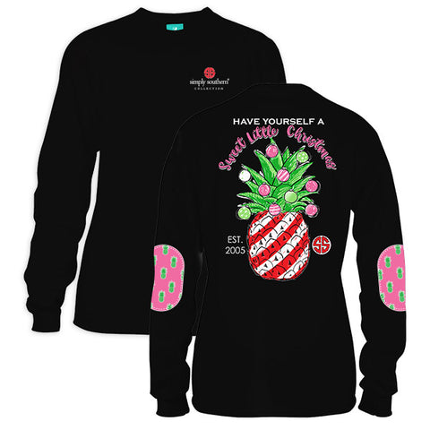 a1f6522a0d32 Simply Southern Preppy Have Yourself a Sweet Christmas Pineapple Long  Sleeve T-Shirt