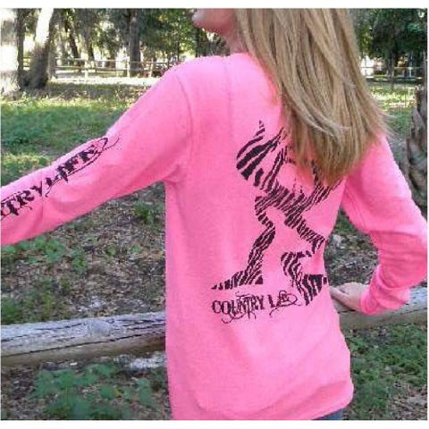 Country Life Outfitters Pink Zebra Deer Head Hunt Vintage Long Sleeve Bright T Shirt - SimplyCuteTees